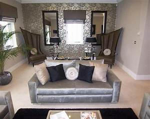 Photo of designer grey silver metallic living room lounge for Stylish silver living room furniture ideas