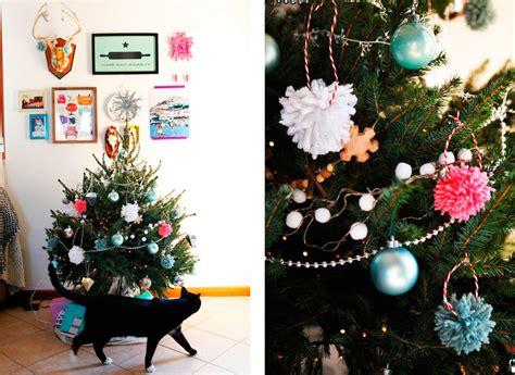 yarn wrapped tree ornaments diy yarn pom pom tree ornaments freckle fair 7363