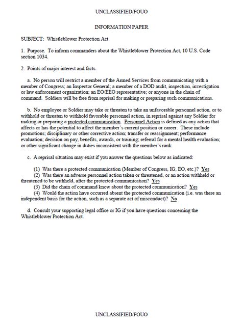 ufouo dod military whistleblower protection act