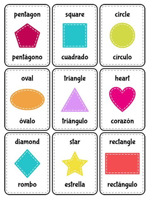 Spanish Shapes Flash Cards Printables