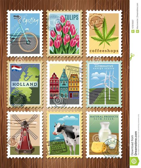 holland travel stamps set poster editorial photography
