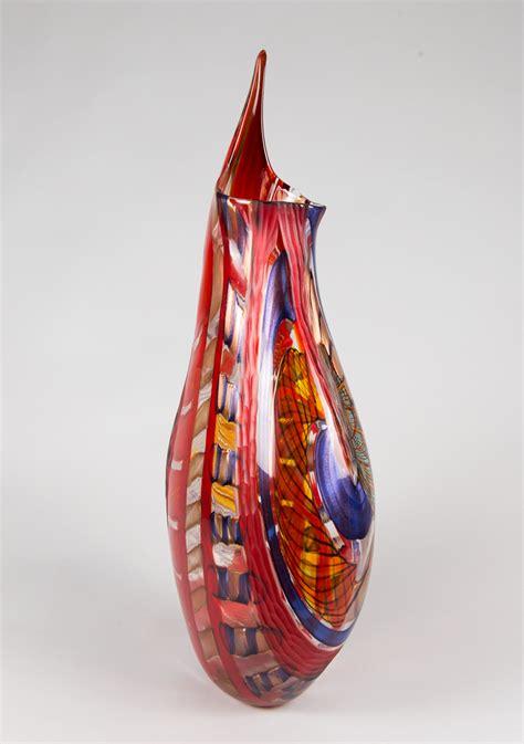 vaso rosso vaso pinzo alto rosso ambra battuto franco schiavon