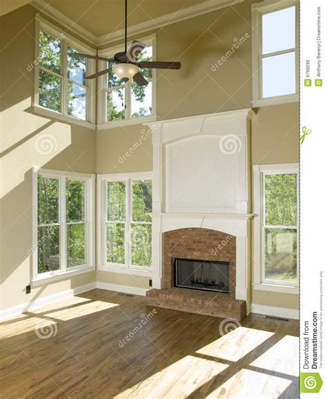 Two Story Living Room With Fireplace Stock Photo