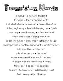 Good Transition Words