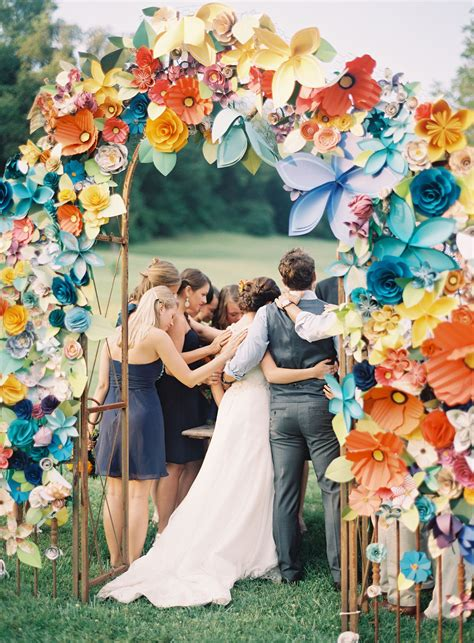 paper flower arch  wedding ceremony diy  wedding