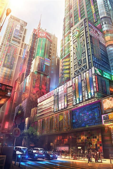 japan cityscapes futuristic digital art artwork wallpaper