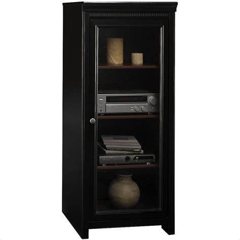 stereo cabinet with glass doors bush stanford audio cabinet with tempered glass door