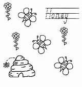 Coloring Honey Bees Beehive Flower Netart sketch template