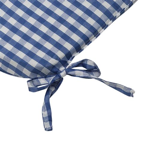 tie on rounded gingham chair seat pad cushion outdoor