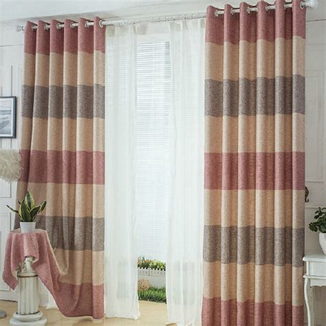 brown striped curtain panels thcik linen cotton pink beige brown striped curtains