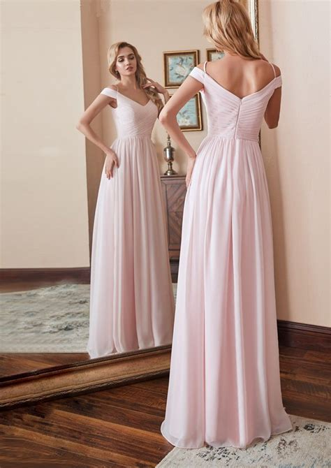 Elegant Cap Sleeve Pink Chiffon Long Bridesmaid Dress ...