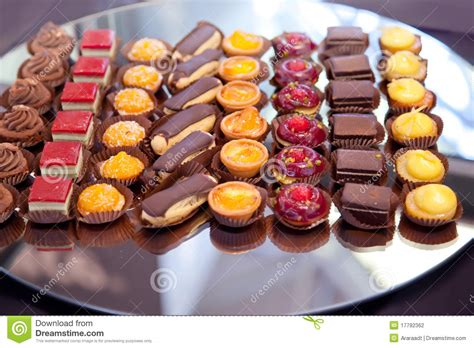 small cakes  tray stock photography image