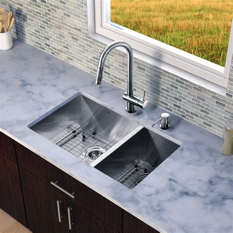 stainless steel undermount kitchen sinks vigo 29 inch undermount 70 30 bowl 16