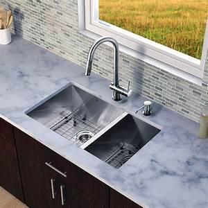 vigo 29 inch undermount 70 30 double bowl 16 gauge With stainless steel kitchen sink gauge