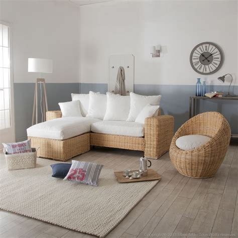 canape osier rotin canapé d 39 angle et fauteuil oeuf en rotin et tissu blanc