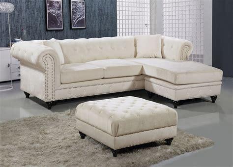 Velvet Tufted Sofa by Button Tufted Velvet Nailhead Sectional Sofa