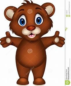 Cute Baby Brown Bear Cartoon Posing Royalty Free Stock ...