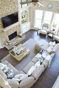Cool tone spring ready living room tour kelley nan for Sectional couch living room layout