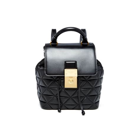 ted baker womens gaile quilted luggage lock backpack black