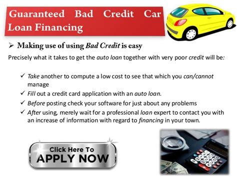 Guaranteed Car Loans For People With Bad Credit