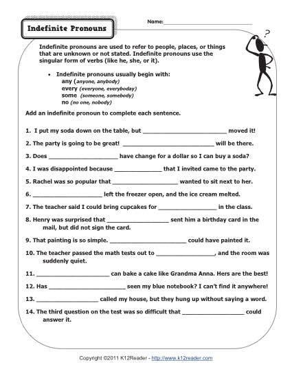 indefinite pronouns worksheet indefinite pronouns pronoun worksheets