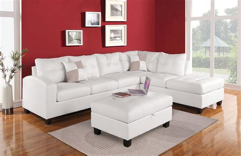 hton leather reversible sectional and storage ottoman kiva white bonded leather reversible sectional sofa