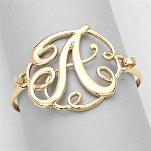 monogram bracelet hinge bangle initial curlique script With gold initial letters