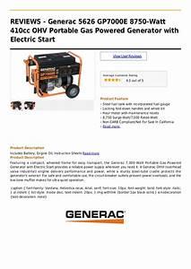Generac 5626 Gp7000 E 8750 Watt 410cc Ohv Portable Gas