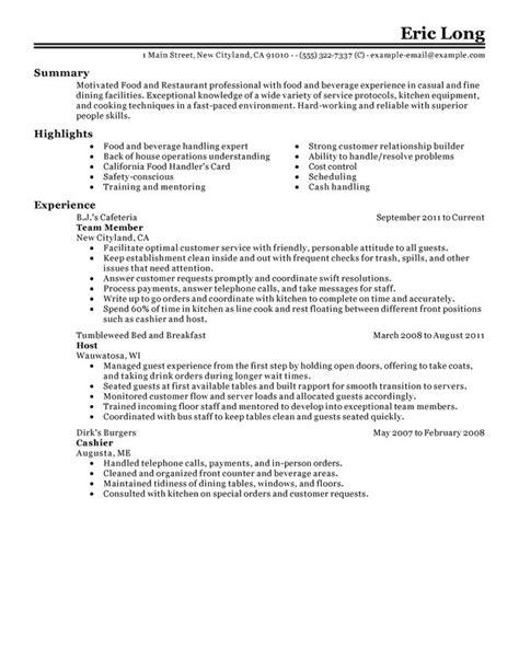 example of restaurant resume impactful professional food restaurant resume examples