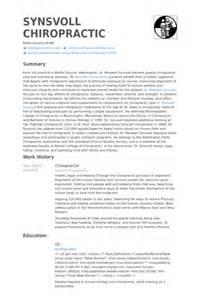 chiropractor resume sles visualcv resume sles database