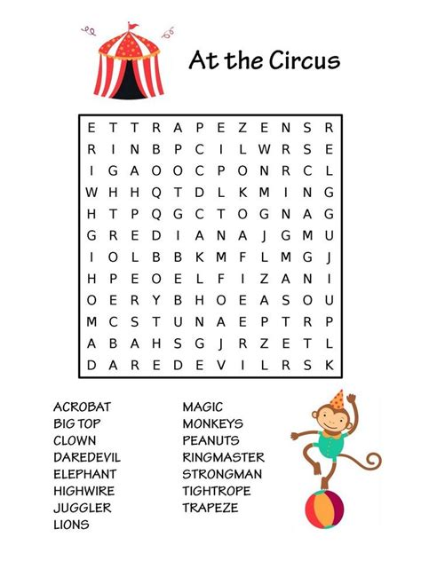 circus word search   hidden