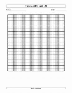 Printable Full Page Graph Paper Thousandths Grid Decimals Worksheet