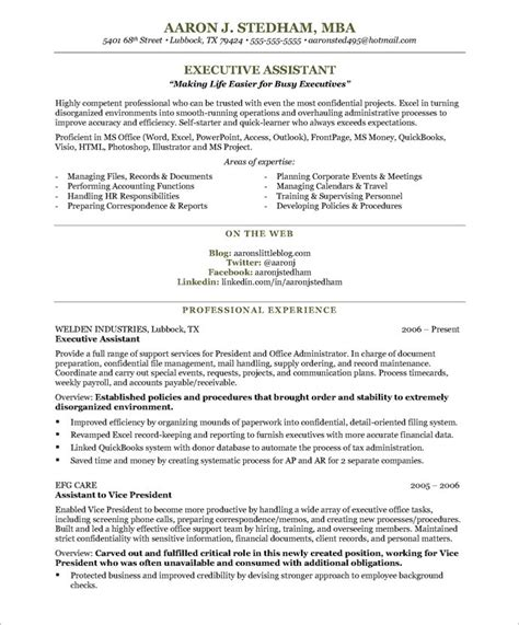 resume sles for executive assistant jobs executive assistant resume executive assistant aaron j stedham