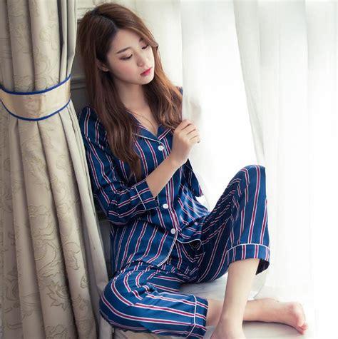 New 2017 Spring Autumn Ladies Silk Striped Pajama Sets