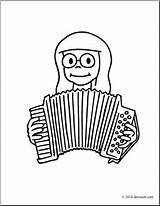 Accordion Playing Clip Coloring Abcteach Clipart sketch template
