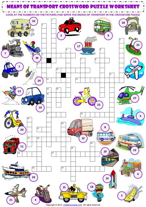 means of transport criss cross crossword puzzle vocabulary worksheet