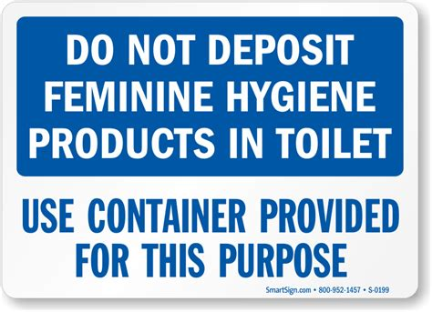 do not deposit feminine hygiene products sign sku s 0199