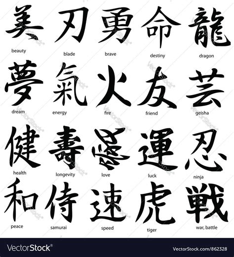 kanji vector image  tattoo ideas japanese tattoo