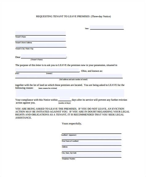 free 3 day notice form 29 free notice forms