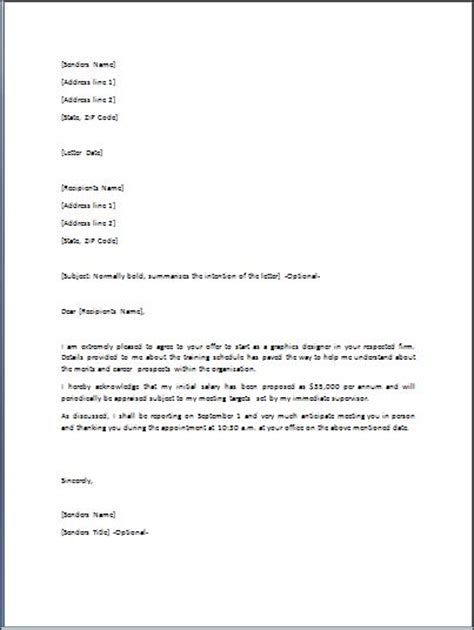 offer letter format best template collection