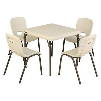 lifetime table with 4 almond chairs