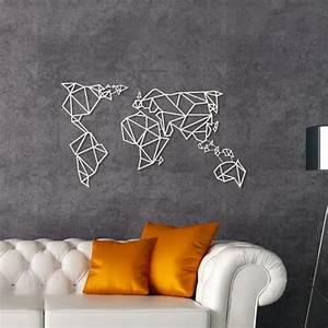 Decoration Murale Carte Du Monde : d coration murale m tal carte du monde blanche artwall and co ~ Teatrodelosmanantiales.com Idées de Décoration