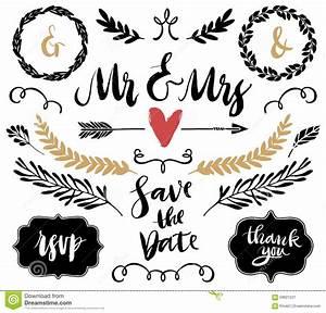 Wedding Graphic Set, Arrows, Hearts, Laurel, Wreaths ...