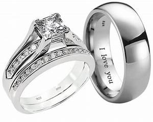 new his and hers titanium 925 sterling silver wedding With wedding bands and rings