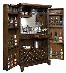 Standing wine and liquor cabinet in dark wood Home Bar