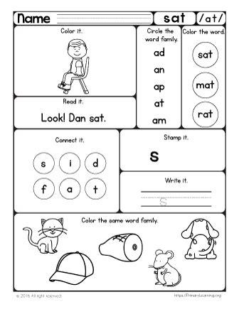 Sat Worksheet  The At Word Family Primarylearningorg