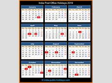 India Post Office Holidays 2019