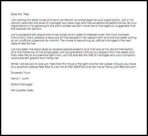 manager recommendation letter  letter samples