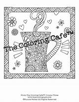 Coloring Cafe Adult Coffee Sheets Grown Ups Sampler Instant sketch template
