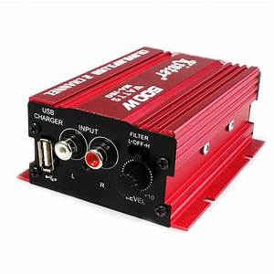 2 Channel 12v Red Hi Fi Mini Car Stereo Audio Amplifier